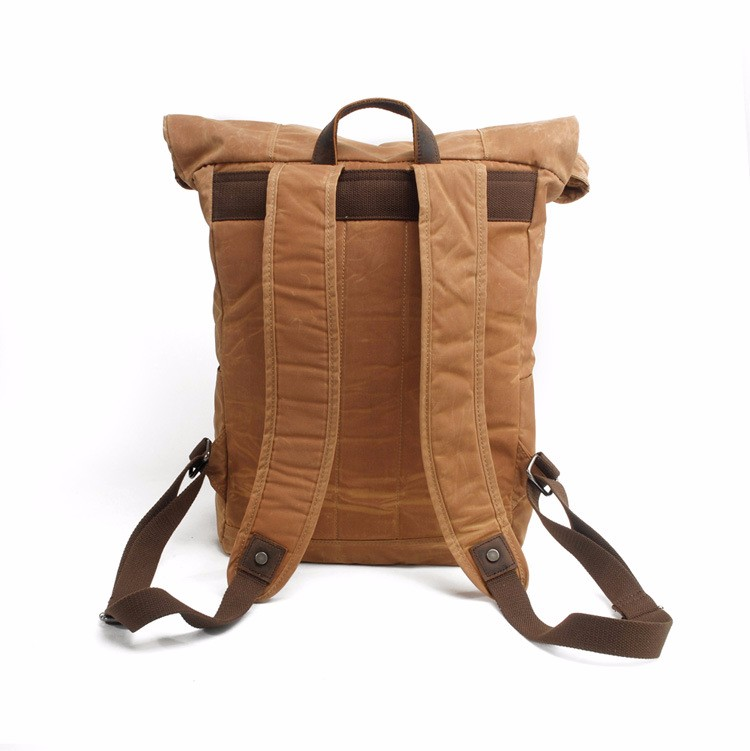 Vintage style high density water-washed 16oz canvas backpack bag with genuine leather trim wholesale from China factory