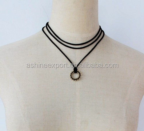 Triple Layer Suede Strap Choker with Antique Metal Circle Pendant