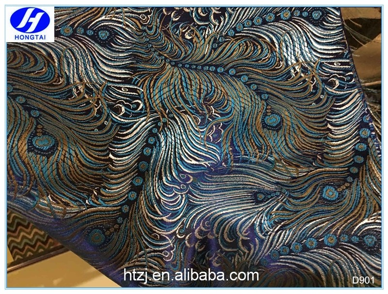 Hongtai new design popular smooth peacock satin fabric