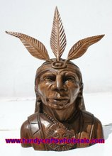 Indian Chief Handcarved Wood Wooden Cedar Figurine Sculpture Ethnic Native Latin South American Folk Art for Sale