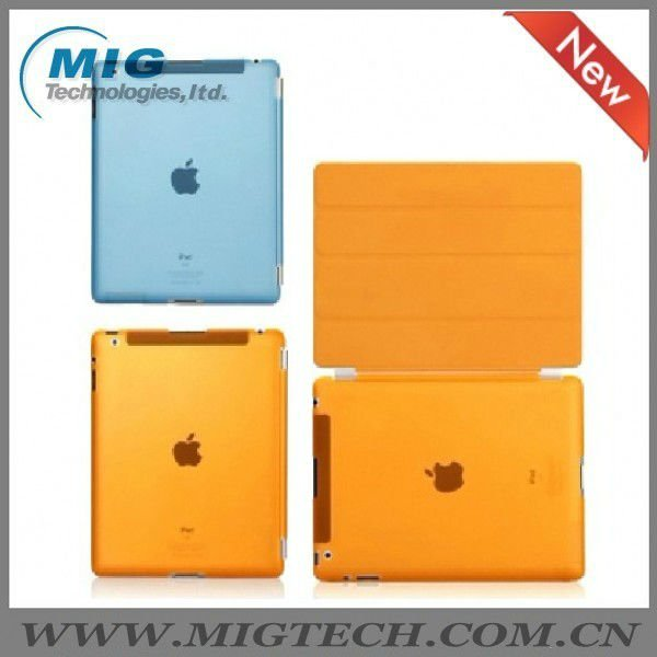 Smart cover with back hard cover for ipad2 3, for ipad3 leather case