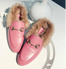 2016 Popular Designer Fur ladies slippers Winter Women Warm Loafers Ladies Fashion Loafer Slipper High Quality