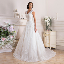 Romantic Cap Sleeve V-Neck Long Wedding Dresses Crystals Belt Open Back Floor-Length Wedding Bridal Dress Robe de Mariage