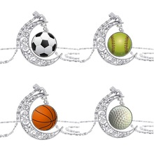 FT-30 wholesale Cheap Baseball Football Soccer Ball Pendant necklace