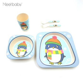Cute Bamboo Fiber Kids Meal Set Feeding Baby Dish Plate Cup Cutlery Children Tableware Baby Bamboo Dinnerware Set