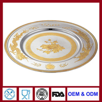 gold plated food plate gold charger plate platter for hotel restaurant home deco