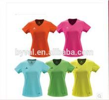 High quality ladies cheap deep v-neck sports t shirt plain dyed tight fit t shirt wholesale china