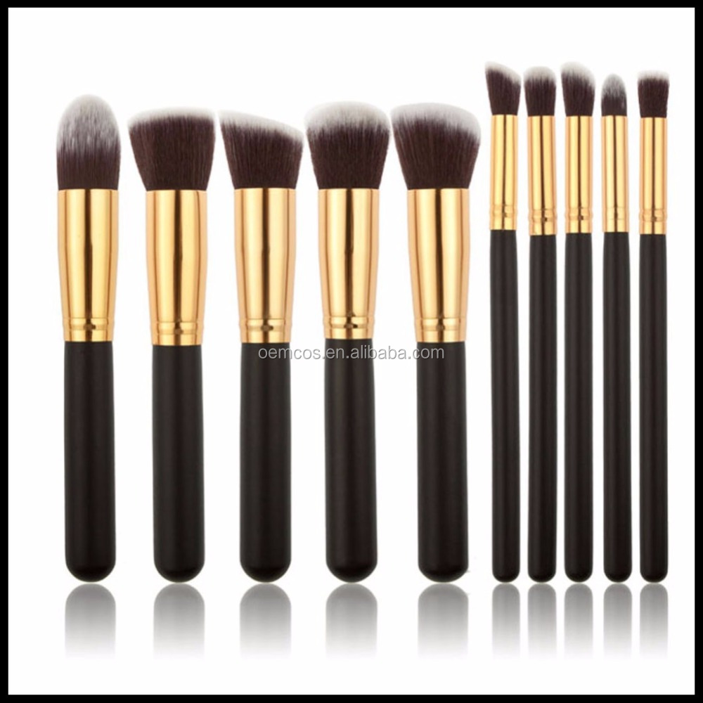 10Pieces Makeup Brushes Set Foundation Blending Blush Concealer Eye Face Lip Brushes for Powder Liquid Cream Complete Makeup Br