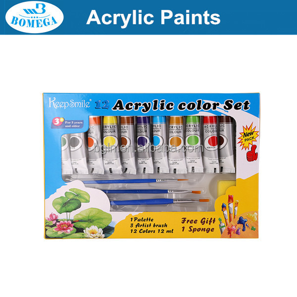 12ml 12 Colors Students Water Color Set with palette and brush wholesale free sample