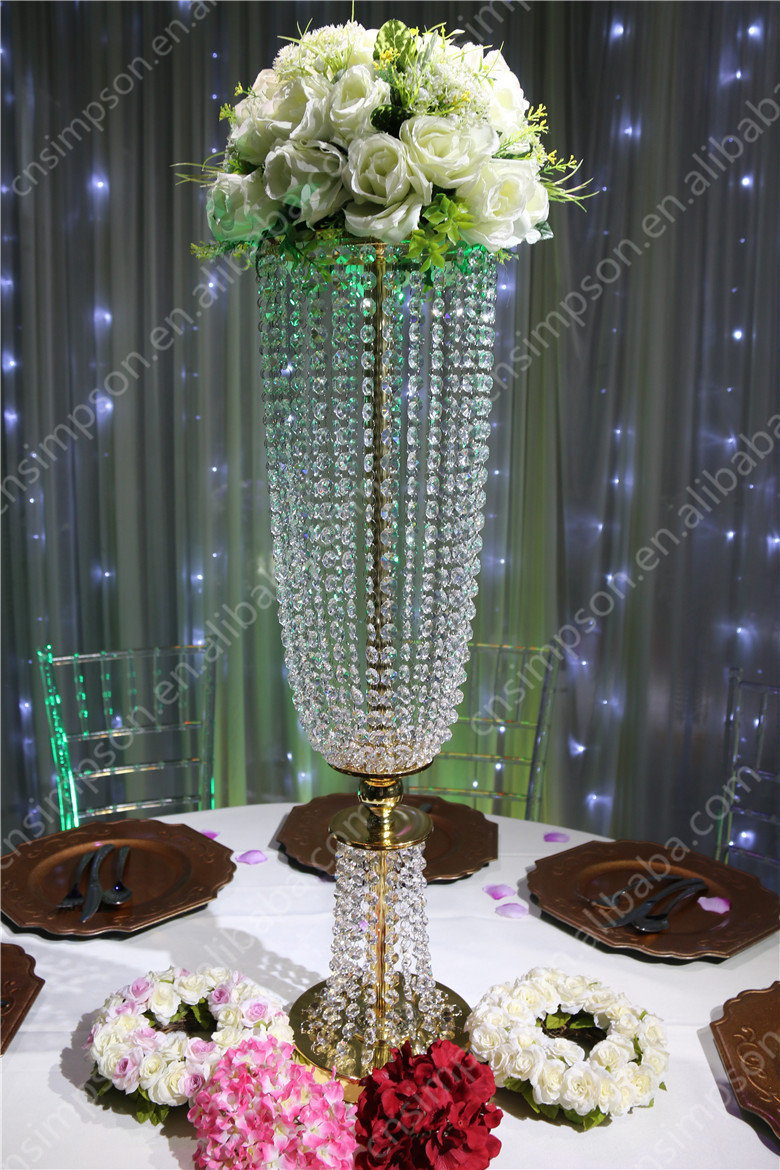 H cm golden crystal flower stand centerpiece for wedding