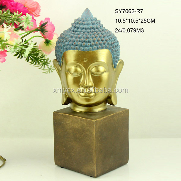 polyresin made antique gold buddha head for indoor decoration