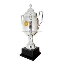 Special design metal silver trophy cup with golden medal coin