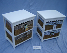 Sweet white blue solid wood office files storage cabinet, wooden woven basket living room cabinet