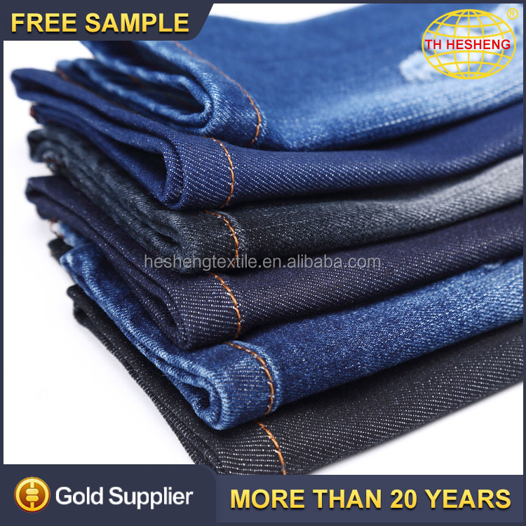 yarn dyed 71%cotton 24%polyester 3%viscose 2%spandex stretch denim fabric for pants wholesale