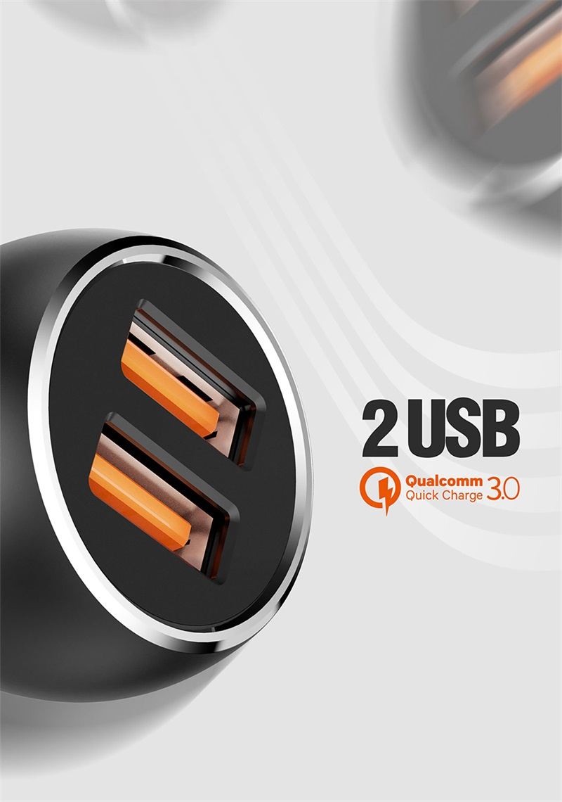 2 USB Port Quick Charger 3.0 Car Charger