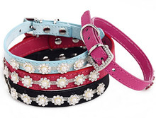 wholesale colorful PU dog collar,magnetic dog collar