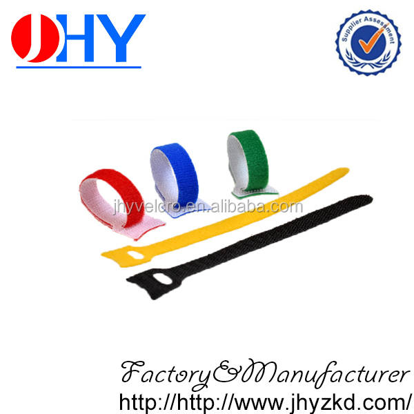 Wholesale colorful printed logo with radian hook and loop cable ties