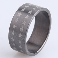 New Design 316L Stainless Steel Black Star Of David Ring