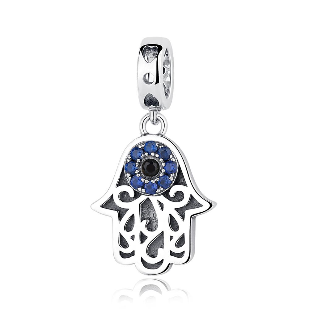 Vintage 925 Sterling Silver Jewelry <strong>Charm</strong> Blue Clearly Evil Eye Hand Pendant