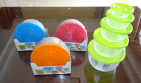 Popular 5 pcs set round plastic food storage container with color box