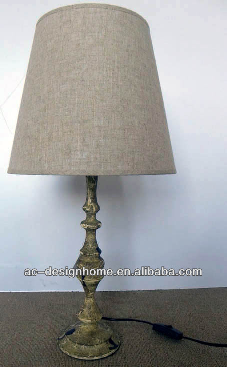 KAHKI LINEN POLYESTER/METAL TABLE LAMP