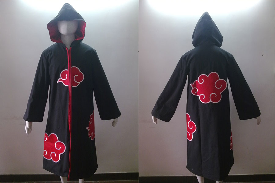 2014 Most poluar cheapest Wholesale In stock naruto Costume Akatsuki Ninja hooded coat capote Cosplay Costume for party