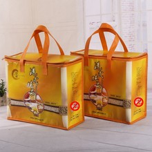non woven fabric cooler bag put Lunch box with 80g material