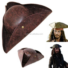 Pirate Captain Caribbean Jack hat adult Kraft leather triangle pirate hat