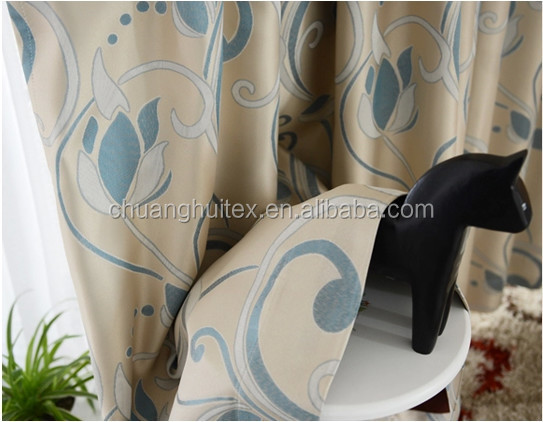NEW ARRIVAL polyester non-toxic jacquard blackout luxury curtain
