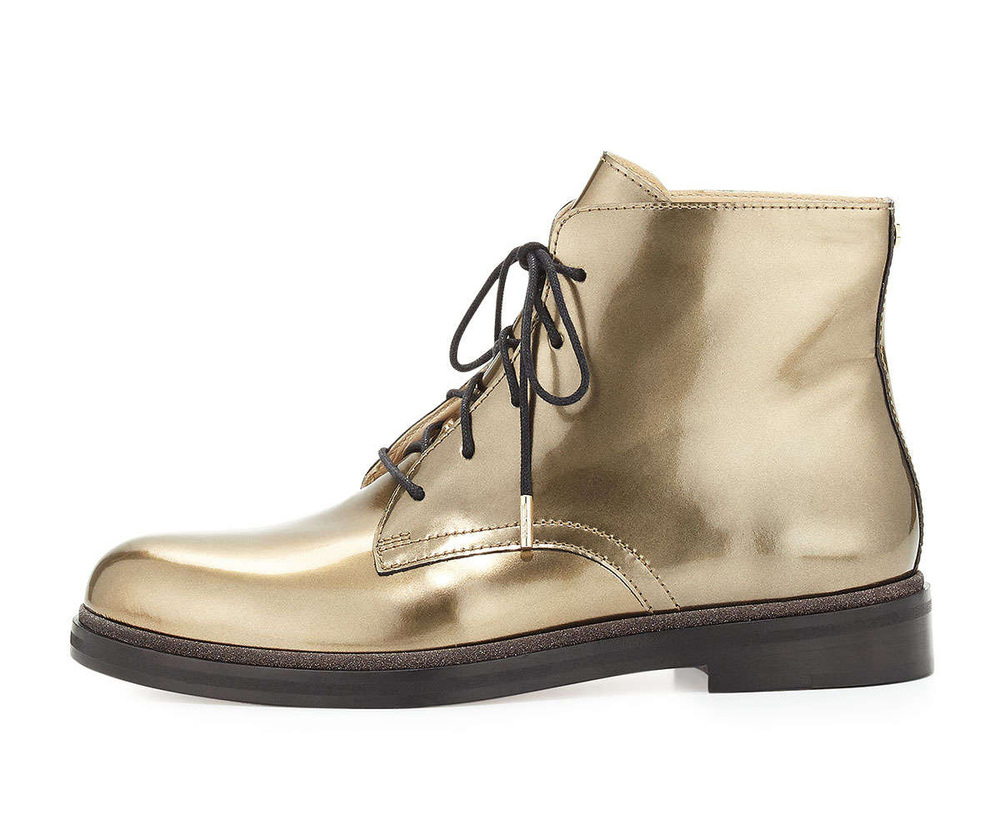 2016 new style women rubber sole lace up leather material luxury gold boots