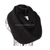 Winter Warm Black Infinity 2 Circle Cable Knit Crochet Patterns Scarves