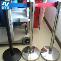 Bank queue line crowd control barrier stainless steel belt post