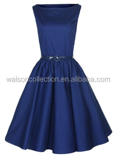 SEXY GIRL IMAGE NAVY VINTAGE ROCKABILLY DRESS PINUP DRESS FOR WOMEN PLUS SIZE UK8-24