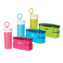 mini plastic japanese insulated bento lunch box with water bottle