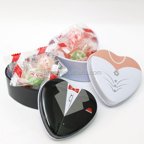 Wedding Gift Tin Candy Bride and Groom Box