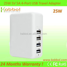 25W 5V/5A 4 Ports Wall Charger Plug Trave USB Power Adapter for iPhone,Galaxy S5 S4; Note 3 2; HTC Mobile Phone; Nexus and more