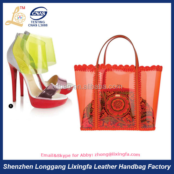 Custom best sale ladies beauty matching shoes transparent handbag tote bag