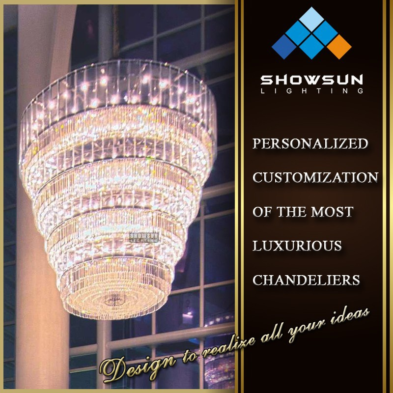 Custom-made trapezoidal shape crystal lace chandelier lighting for hotel