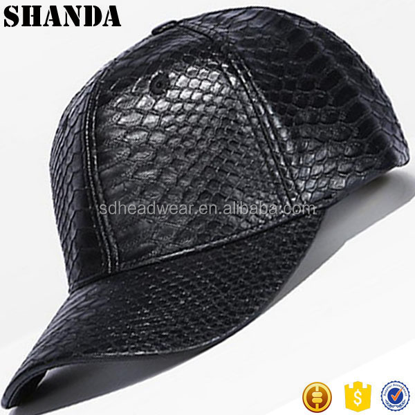 high quality blank black faux leather snakeskin baseball cap hat