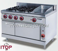 Gas range with burners and griddle