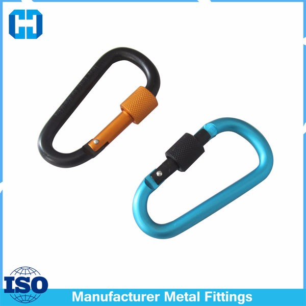 Promotional Engrave Logo Screw Lock Heavy Duty D Carabiner