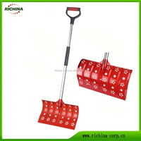 Light weight blade with hallow decorative pattern, aluminum steel handle, snow push shovels
