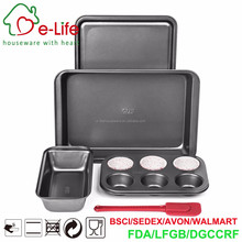 5pc Metal Non-Stick Toaster Oven Bakeware Set With Silicone Spatula and Paper Cups