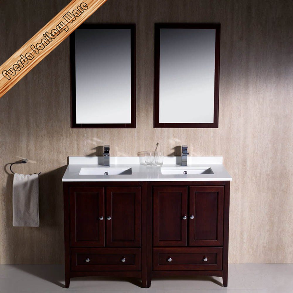 Double Sink Small Bathroom : Fed-1069e 48 Inch Double Sinks Elegant Quartz Top Modern Bathroom ...