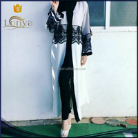 Women latest lace design 100% polyester white turkish clothes for women Chian wholesale abaya turkey