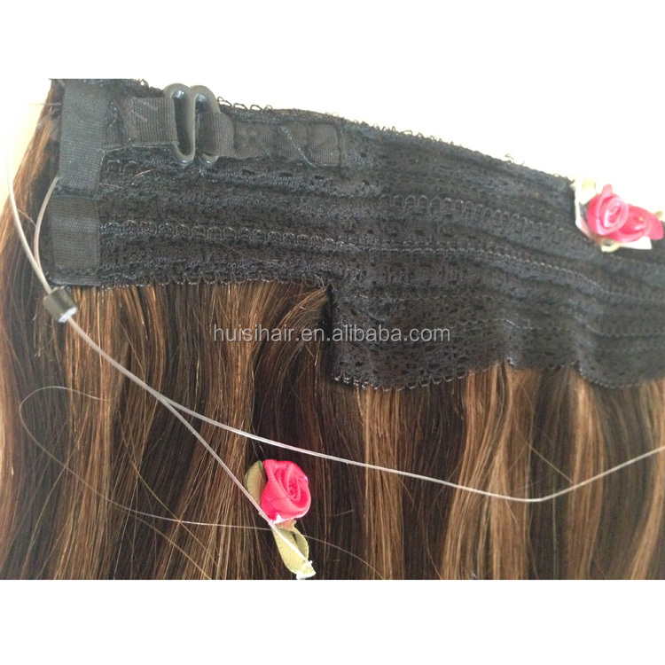 100g 120g 160g new researched halo in hair double drawn halo hair extensions with fish net