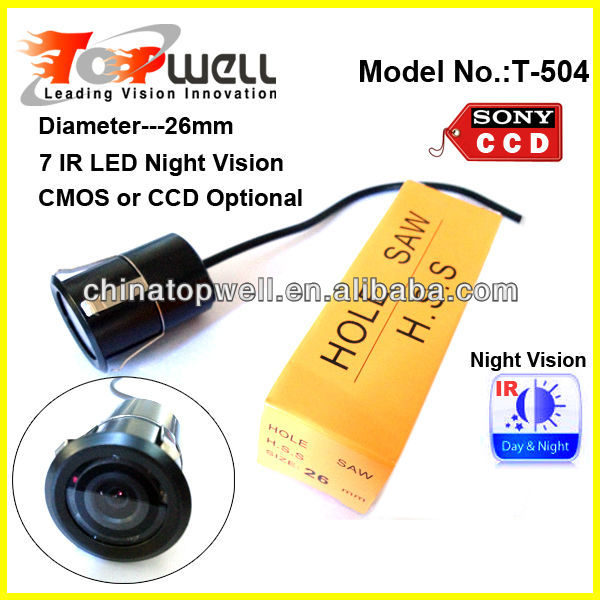 Diameter 26mm Flush Mount IR Night Vision Waterproof Colour Backup Camera,Colour CMOS or SONY CCD Sensor Optional