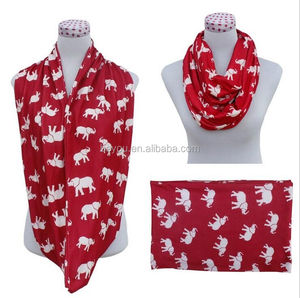 greek Red White Animal Elephant Infinity Scarf Circle Scarves Ring DST Delta Sigma Theta Scarf Inspired gift
