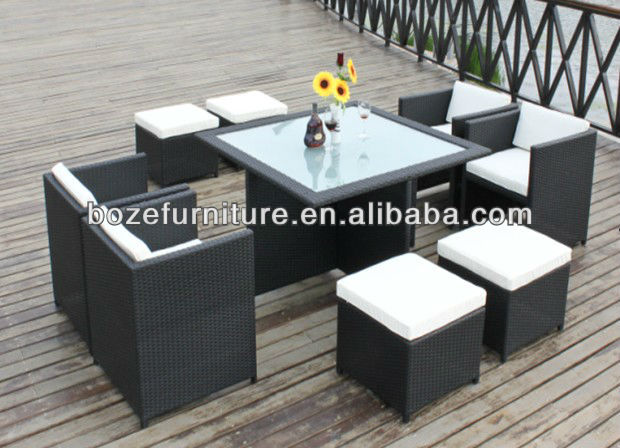 Mueble jard n mobiliario rattan mimbre mesa de comedor y for Conjunto rattan sintetico barato