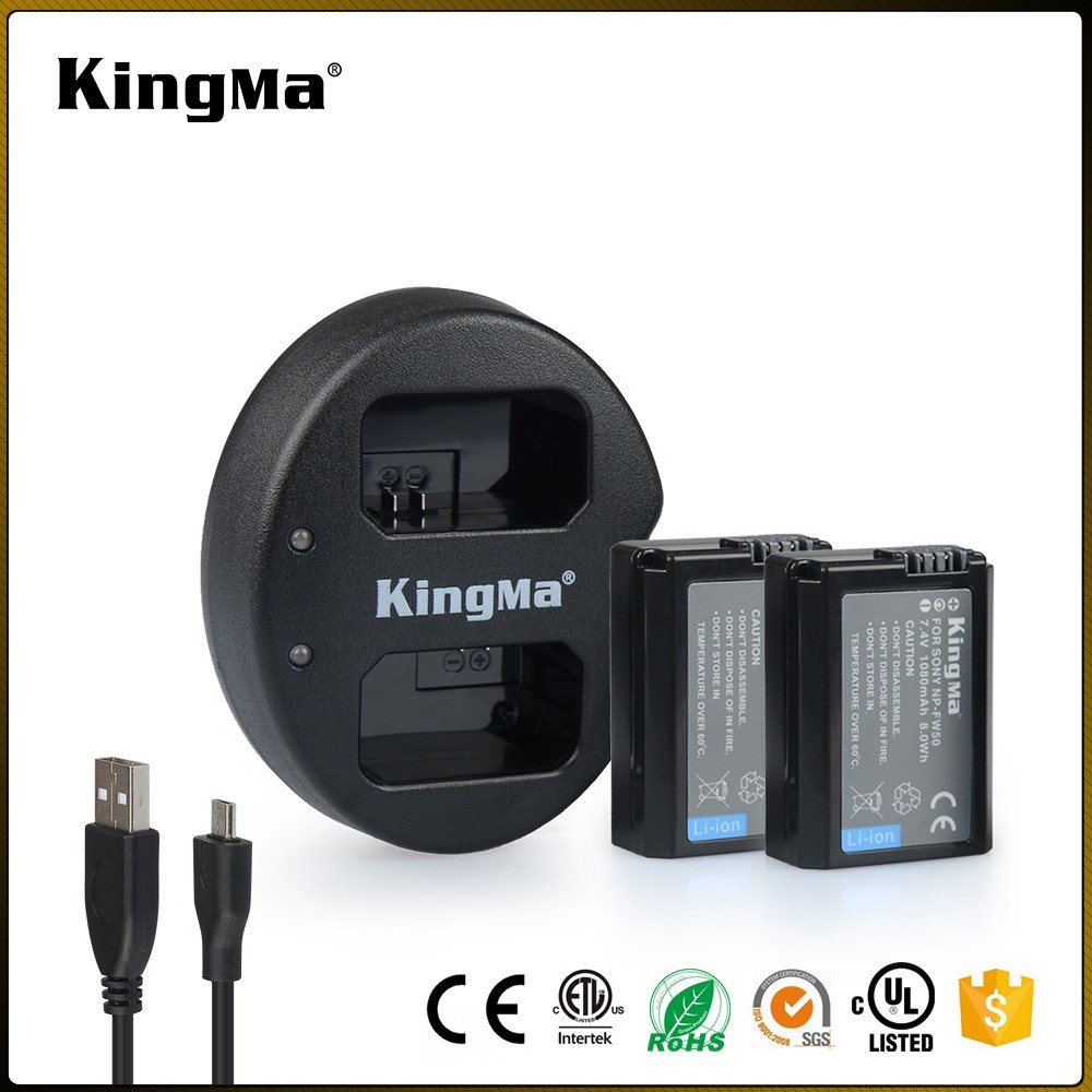 KingMa 2017 Portable NP-FW50 Battery Charger Kit for Sony NEX-5C NEX-7C NEX-5N Camera One Dual USB Charger Two 1080 mAh Battery